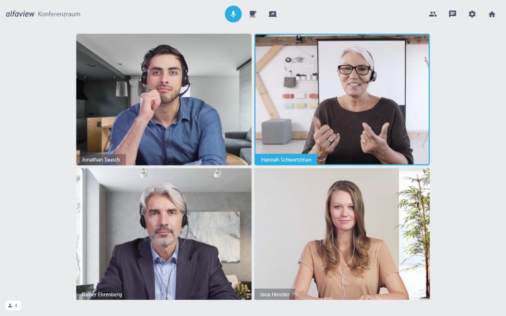 alfaview Videokonferenz mit 4 Personen in hoher Qualität