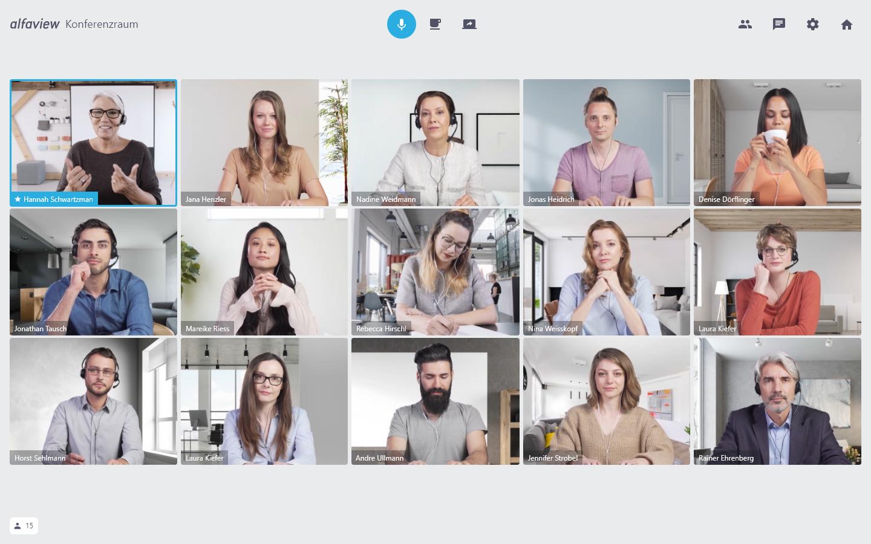 Kursteilnahme von 15 Personen in einer Online Schulung mit alfaview