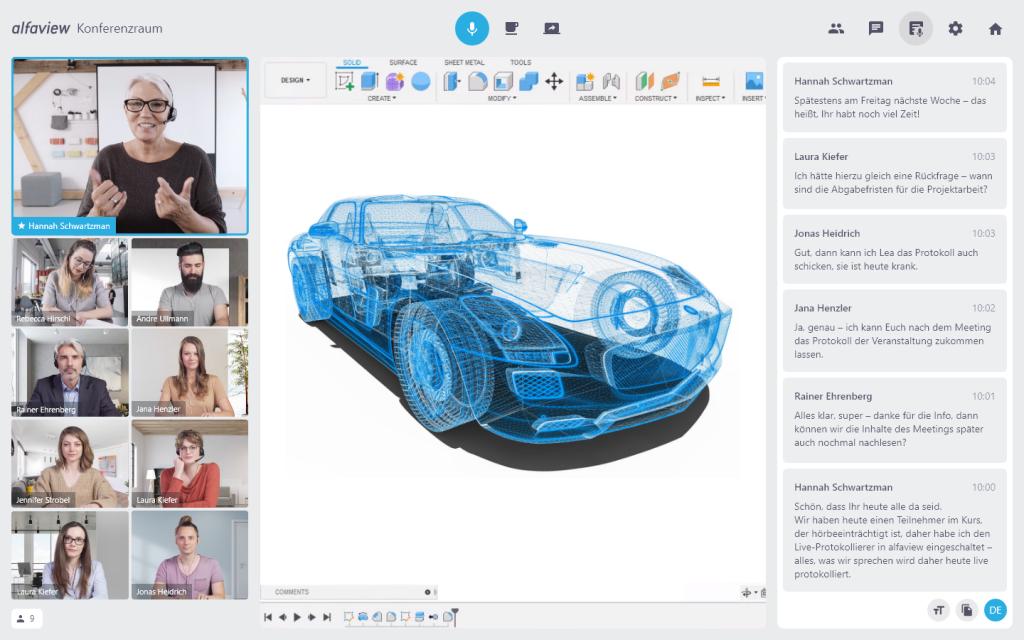 Live Online Training mit alfaview von zu hause aus. Präsentation der Live - Transkription