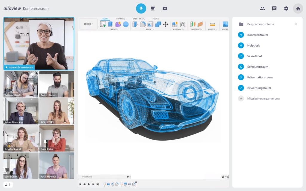 Bildschirmuebertragung in einer Online Schulung mit alfaview und der Anzeige der Raumstruktur