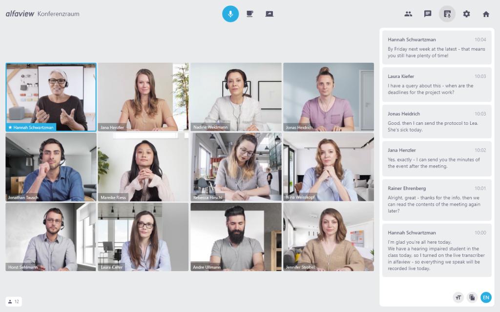 Videokonferenz mit 12 Personen und Live-Transkrition