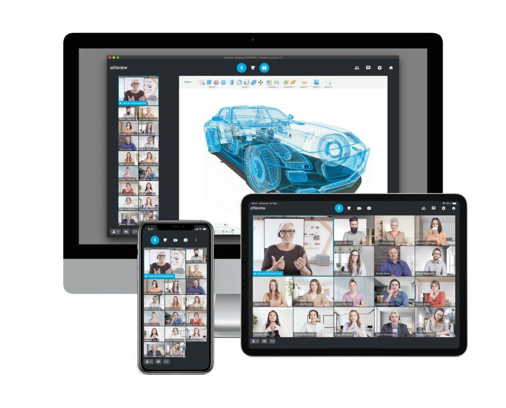 alfaview Videokonferenz Darstellung auf dem Desktop und mobilen Endgeräten